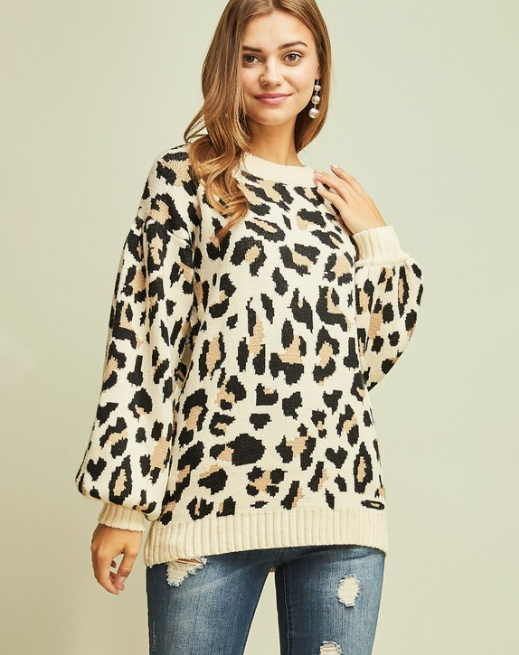 leopard print high neck sweater