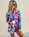 blue and pink tie-dye hoodie pullover lounge set