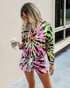 green and pink tie-dye hoodie pullover lounge set