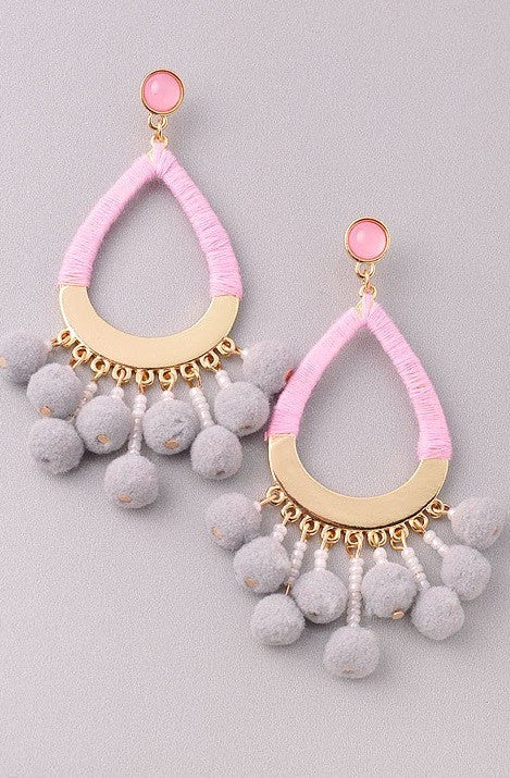 Just a Drop Grey & Pink Earrings