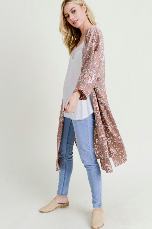 Dreaming of Us Pressed Rose Floral Kimono