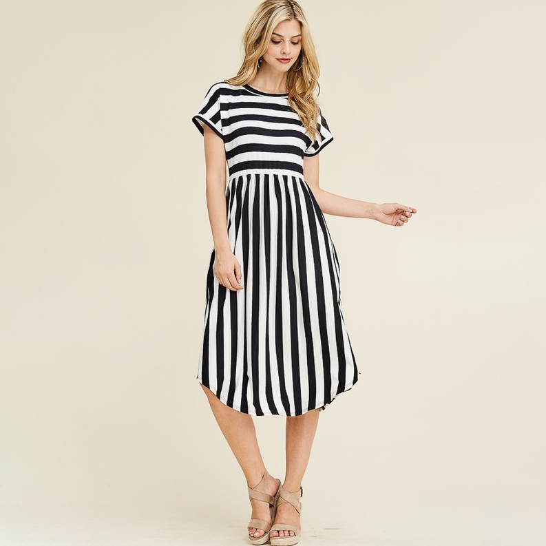 It Starts Today Striped Midi Dress