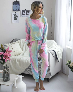 multi colored sweatshirt long sleeve pant lounge set