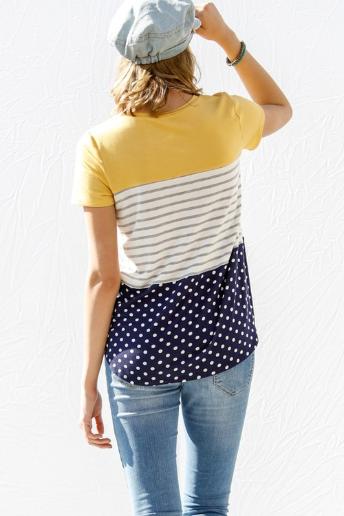Just My Style Mustard & Navy Top