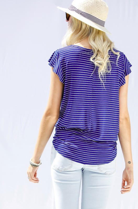 Bold Personality Striped Royal Blue Top