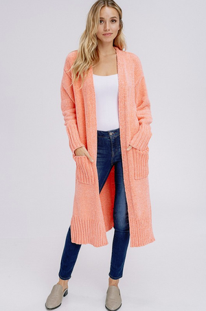 Beyond Amazing Bright Coral Cardigan