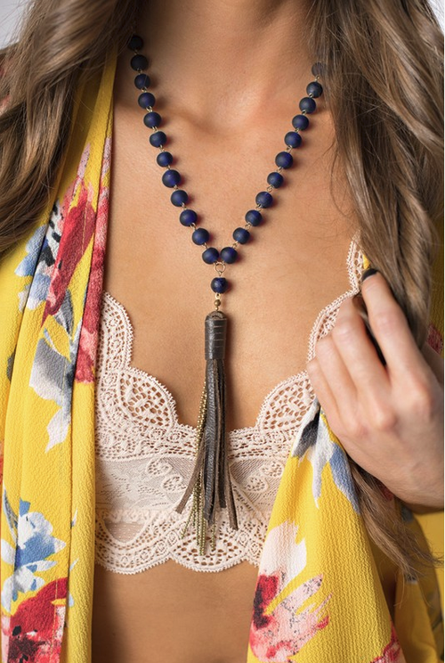 Set in Stone Navy Necklace