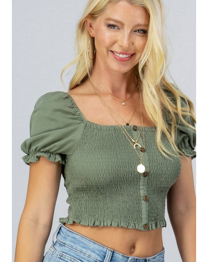 olive green smocked button crop top