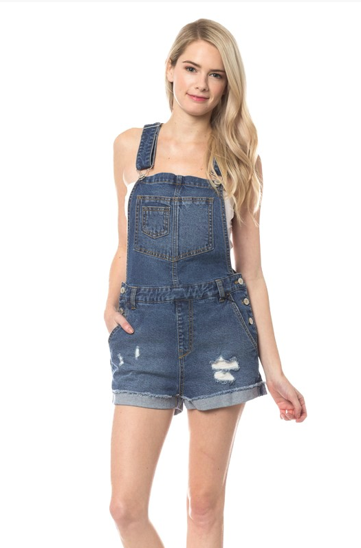 Road Trip Ready Denim Overall Shorts