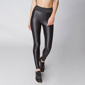 black faux leather elastic waist leggings