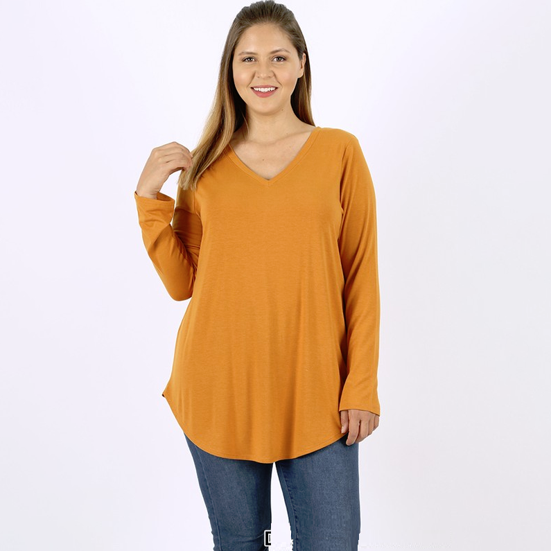 Back to Basics Dark Mustard Long Sleeve Top
