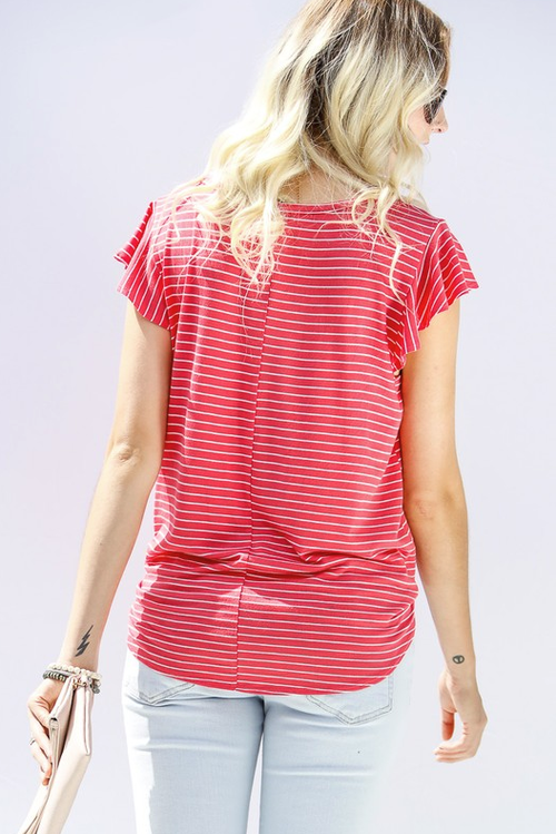 Bold Personality Striped Coral Top