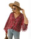 red polka dot floral long sleeve button up tassel top