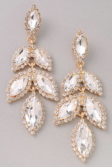Big Moment Gold Rhinestone Earrings