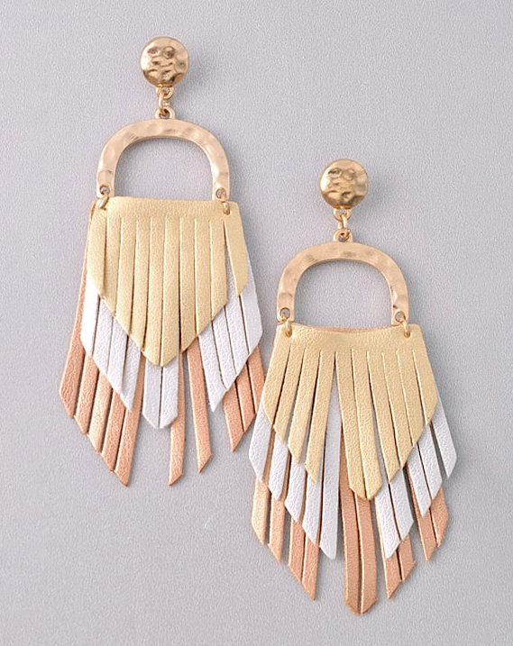 gold rose gold white fringe leather earring