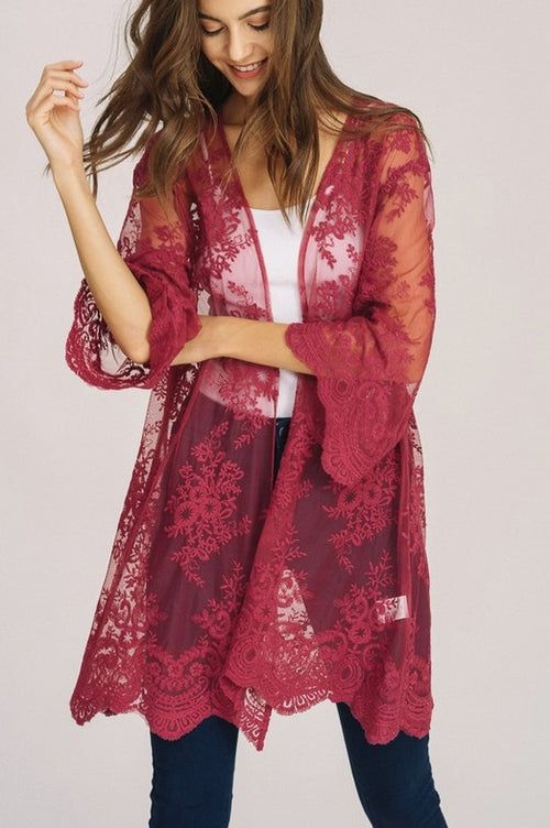 Reach For The Sky Rose Lace Kimono