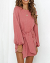 pink tie front sweater dress balloon sleeve