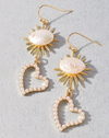 gold heart sun boho earrings
