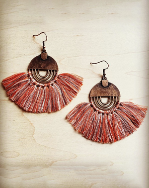 rust tassel metal handmade earrings