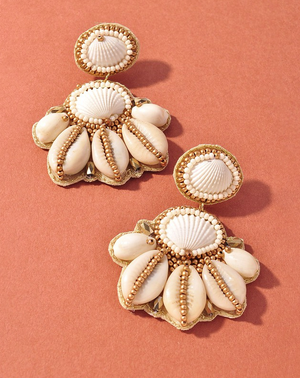 ivory seashell beaded statement earrings