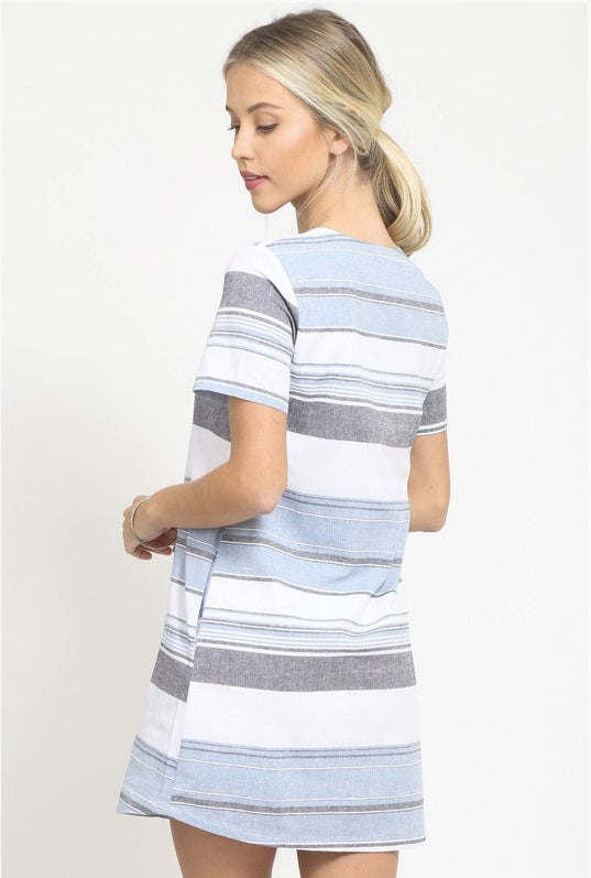 Sailing Away Sky Blue Striped Dress
