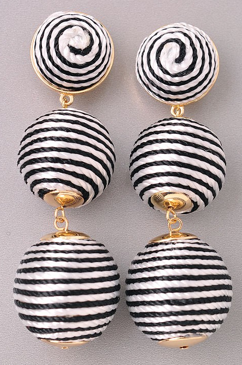 Go Getter Black and White Earrings