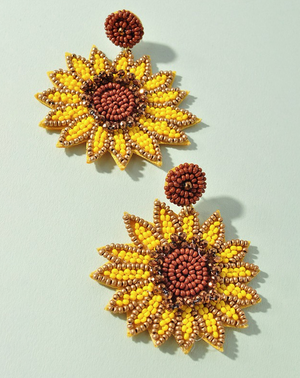 sunflower beaded earrings