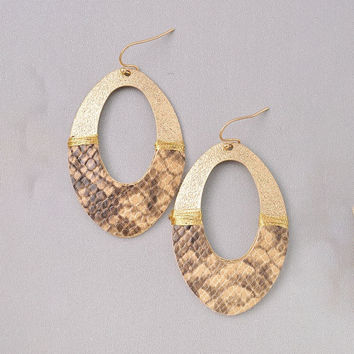 Just My Style Beige Snake Print Earrings