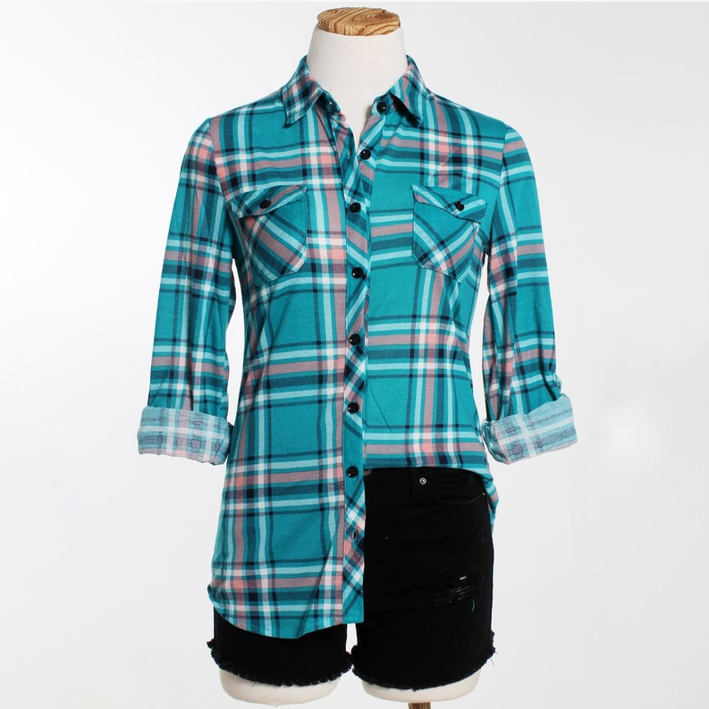 Daily Basis Teal Plaid Top