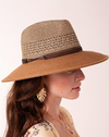 tan two tone straw rattan panama hat