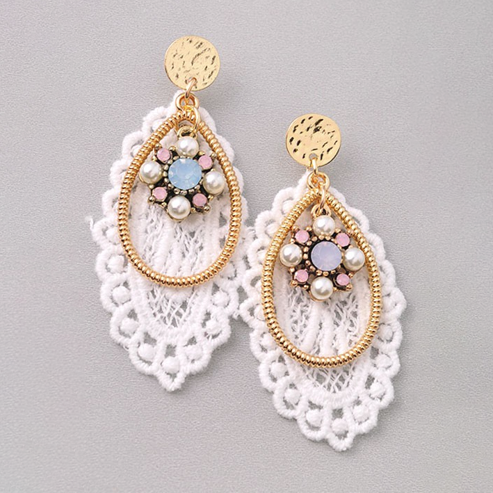 Affair of the Heart White Lace Earrings