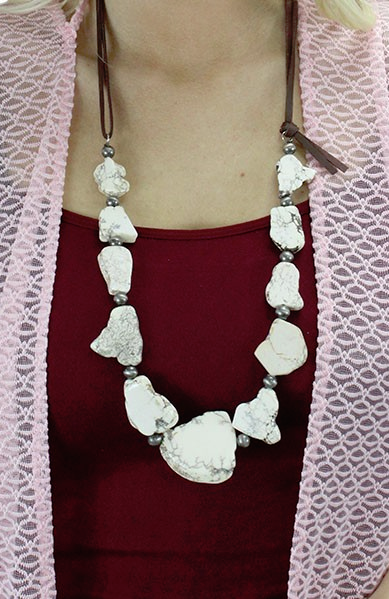 Step It Up White Turquoise Necklace