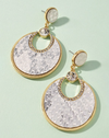 grey gold rhinestone round snake earrings