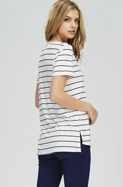 Make My Day White Striped Top