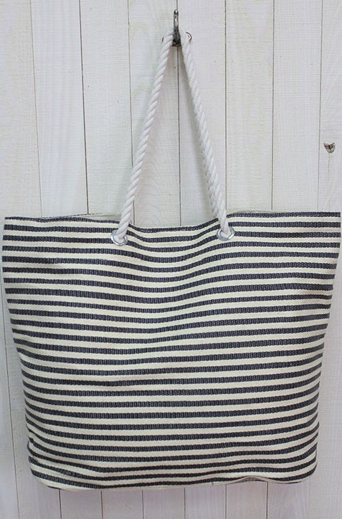 Ready to Get Away Gray Stripe Tote