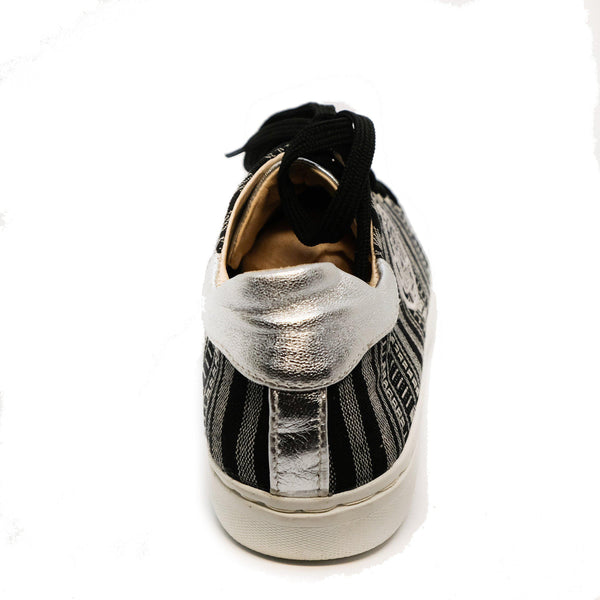 Angie Leather Sneaker in Gray Stripe