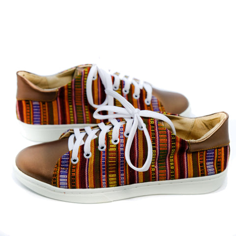 Angie Leather Sneaker in Maroon Stripe