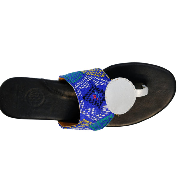 Wanda Dot Thong Sandal in Blue