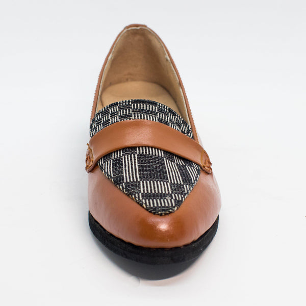 Carol Almond Toe Loafer in Brown with Blue