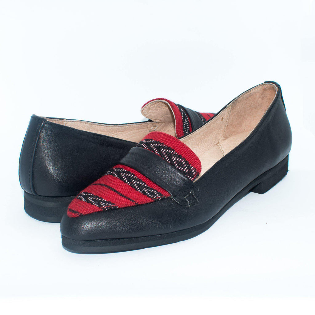 Carol Almond Toe Loafer in Black with Red