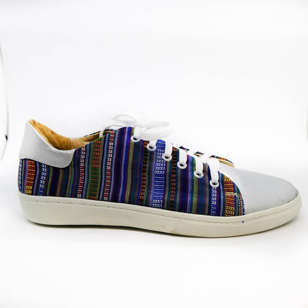 Angie Leather Sneaker in Blue Stripe
