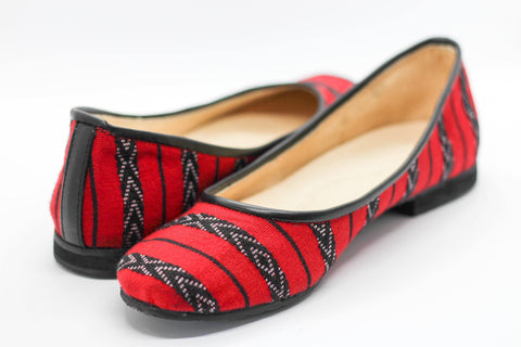 Lily Ballet Flat in Red Stripe