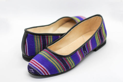Lily Ballet Flat in Purple Stripe