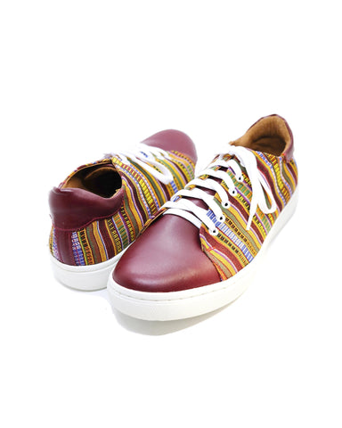 Poch Leather Sneaker in Maroon
