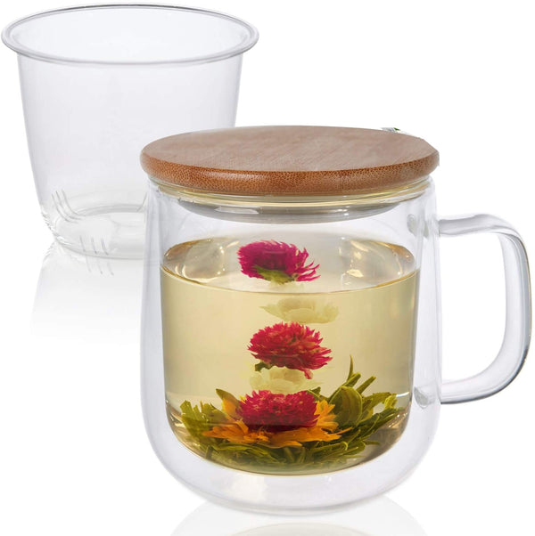 Insulated Glass Mug Set - for Blooming and Loose- leaf tea