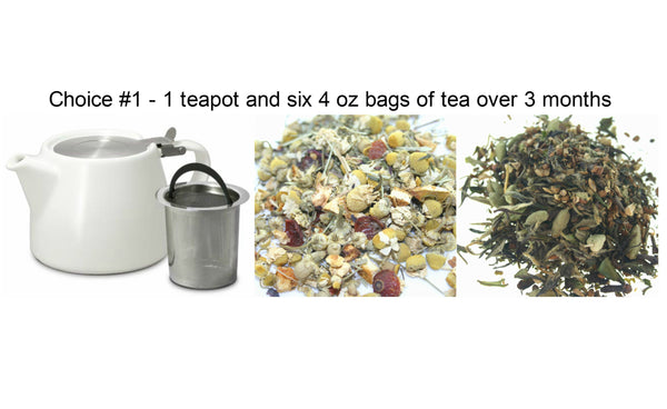 Tea of the Month- 3 month subscription with Tea pot