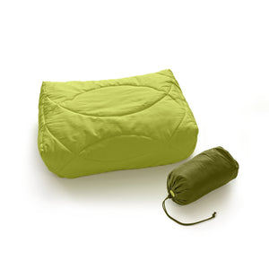 Zenbivy Pillow, Green, shown with stuff sack. Only 5 ounces and the most comfortable backcountry pillow ever designed.