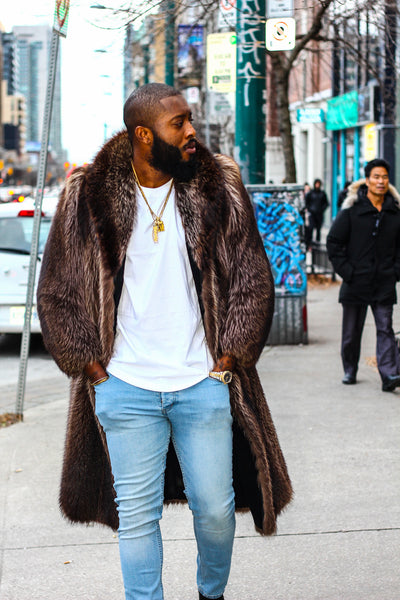 Mens Full Length 47 inch Fur Jacket