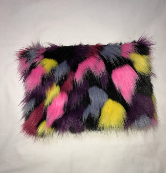 Faux Fur/Purple Clutch zipper