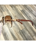 VWC Brown Wood Gold Frame Sunglasses